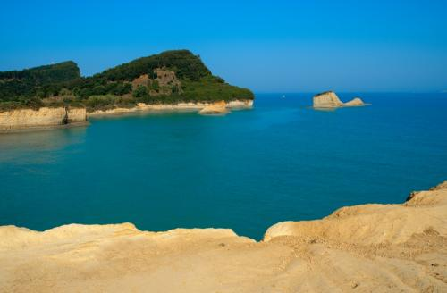The most popular coastline in Sidari, Corfu